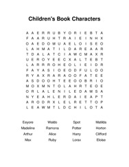 Childrens Book Characters Word Search Puzzle