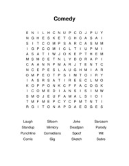 Comedy Word Search Puzzle