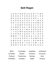 Seth Rogen Word Search Puzzle