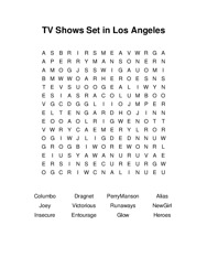 TV Shows Set in Los Angeles Word Search Puzzle