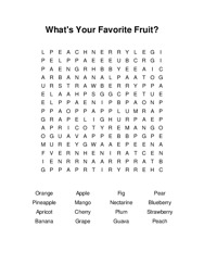 Whats Your Favorite Fruit? Word Search Puzzle