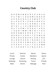 Country Club Word Search Puzzle