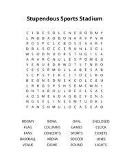 Stupendous Sports Stadium Word Search Puzzle