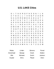 U.S. LAKE Cities Word Search Puzzle