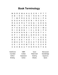 Book Terminology Word Search Puzzle