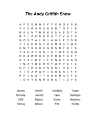 The Andy Griffith Show Word Search Puzzle