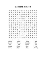 A Trip to the Zoo Word Search Puzzle