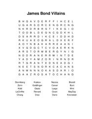 James Bond Villains Word Search Puzzle