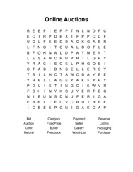 Online Auctions Word Search Puzzle